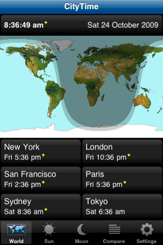 CityTime Main Screen